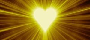 raidiating white heart on gold!