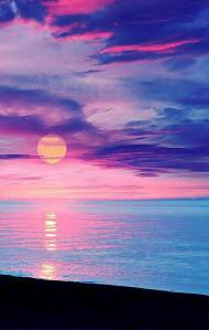 pink and blue sun