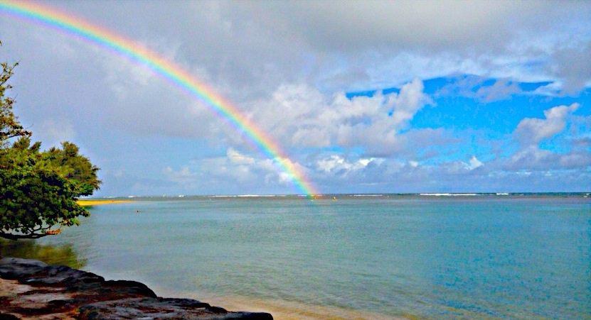 rainbow over anini beach